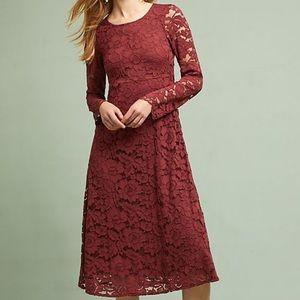 Anthropologie Garnet Lace Dress by Ottod'Ame, Sz 6